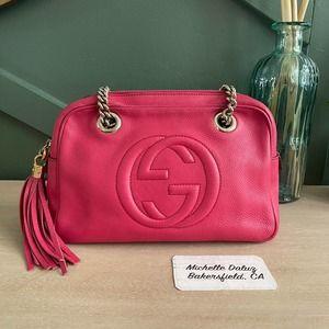 Gucci Chain Soho Shoulder Tassel Pink Bag